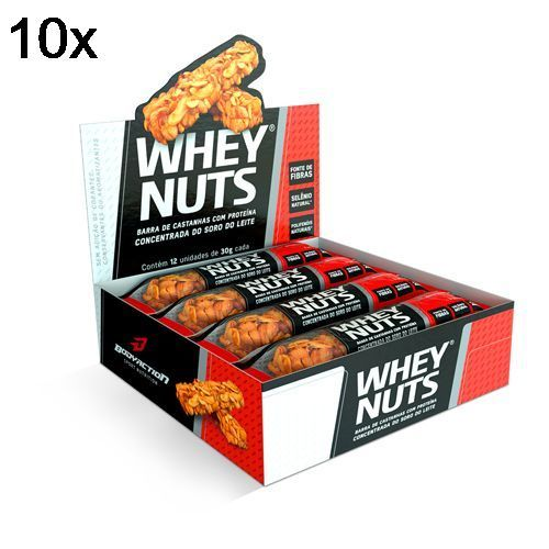 Kit 10X Barra de Castanhas Whey Nuts - 12 Unidades 30g - BodyAction no Atacado