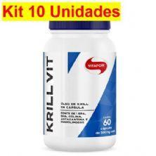 Kit 10X Krill Vit Óleo de Krill - 60 Cápsulas 500mg - Vitafor