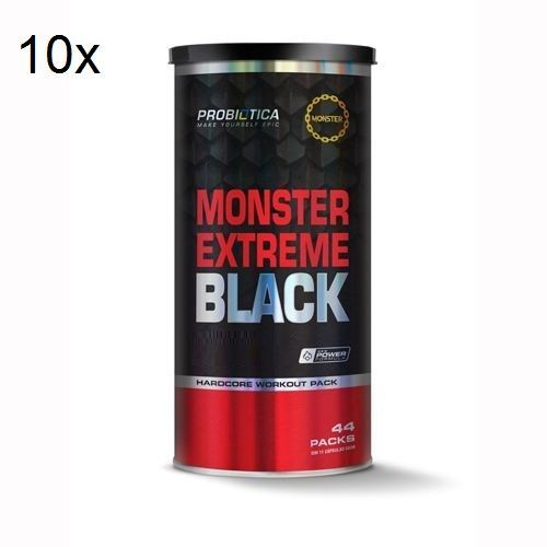 Kit 10X Monster Extreme Black New Power Formula - 44 Packs - Probiótica no Atacado