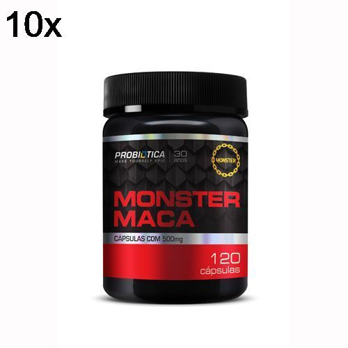 Kit 10X Monster Maca Peruana - 120 Cápsulas - Probiotica no Atacado