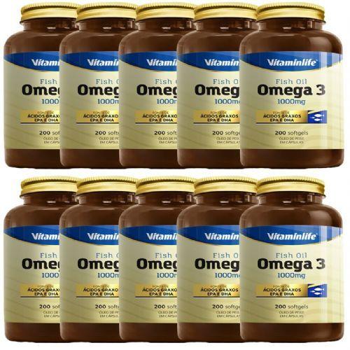Kit 10X Omega 3 1000mg - 200 Cápsulas - VitaminLife no Atacado