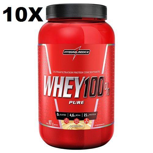 Kit 10X Super Whey 100% Pure - 907g Baunilha - IntegralMédica no Atacado