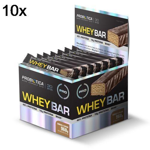 Kit 10X Whey Bar High Protein - 24 Unidades 40g Cookies & Cream - Probiótica no Atacado