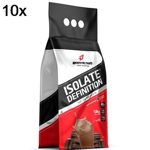 Kit 10X Whey Isolate Definition - 1800g Refil Chocolate - BodyAction no Atacado