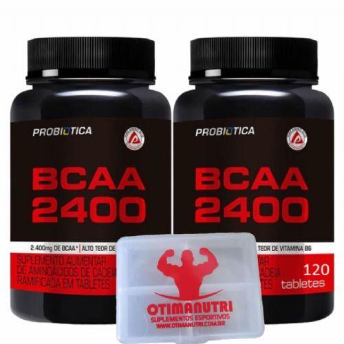 Kit 2 BCAA 2400 - 120 Tabletes + Porta Cáps - Probiótica no Atacado