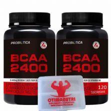 Kit 2 BCAA 2400 - 120 Tabletes + Porta Cáps - Probiótica