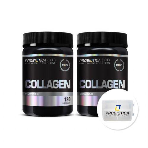 Kit 2 Collagen C - 120 Cápsulas + Porta Cáps - Probiótica no Atacado