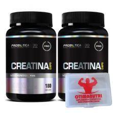 Kit 2 Creatina Monohidratada Pura - 180 Cápsulas + Porta Cáps - Probiótica