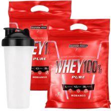 Kit 2 Whey 100% Pure - 907g Refil Morango + Coqueteleira - IntegralMédica