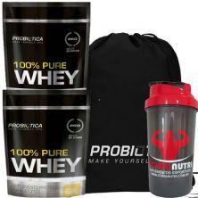 Kit 2X 100% Pure Whey - 825g Baunilha + Mochila + Coqueteleira - Probiótica