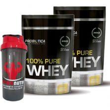 Kit 2X 100% Pure Whey - 825g Refil Baunilha - Probiotica + Coqueteleira - OtimaNutri