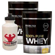 Kit 2X 100% Pure Whey - 825g Refil Baunilha - Probiotica + Squeeze - 500ml Branca - OtimaNutri