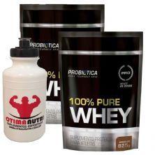 Kit 2X 100% Pure Whey - 825g Refil Chocolate - Probiotica + Squeeze - 500ml Branca - OtimaNutri
