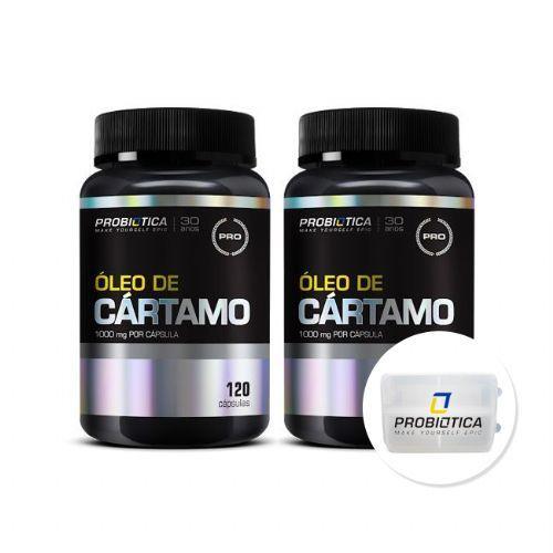 Kit 2x Óleo de cártamo - 120 capsulas + Porta Cáps - Probiótica no Atacado