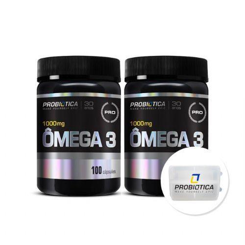 Kit 2x Ômega 3 - 100 Cápsulas - Nova Formula Pro Health + Porta Cáps - Probiótica no Atacado