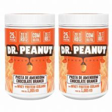 Kit 2X Pasta de Amendoim - 1005g  Chocolate Branco com Whey Isolado - Dr. Peanut
