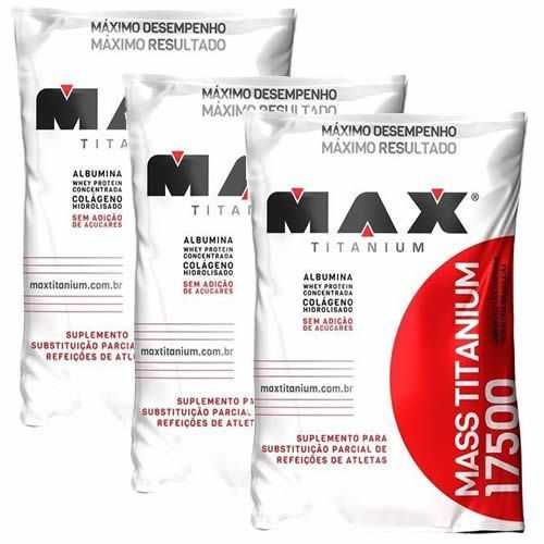 Kit 3 Mass 17500 - 3000g Chocolate - Max Titanium