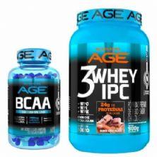 Kit 3 Whey IPC AGE - 900g Chocolate + BCAA Concentrado 60 Cápsulas - Nutrilatina