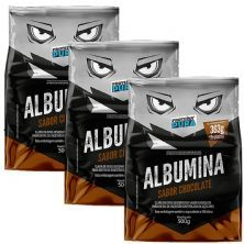 Kit 3X Albumina - 500g Chocolate - Proteína Pura