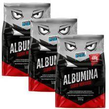 Kit 3X Albumina - 500g Morango - Proteína Pura