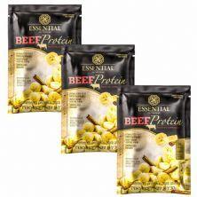Kit 3X Beef Protein - 1 Sachê 30g Banana Com Canela - Essential Nutrition