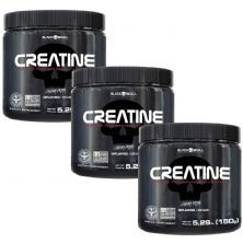 Kit 3X Creatine Pure Monohydrate - 150g - Black Skull
