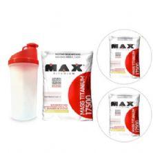 Kit 3X Mass 17500 3 Kg Refil Chocolate + Coqueteleira - Max Titanium