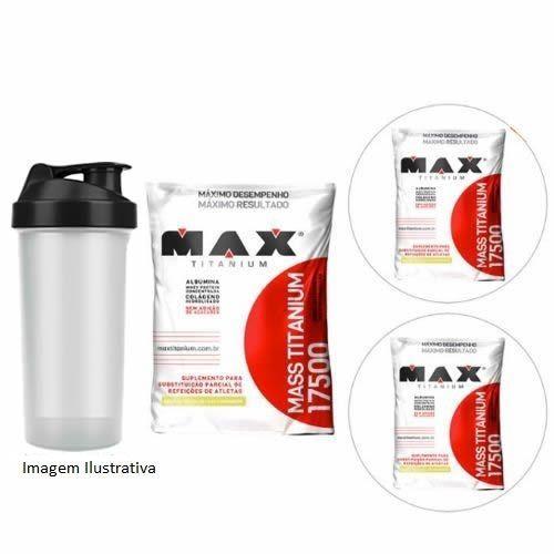 Kit 3X Mass 17500 3 Kg Refil Morango + Coqueteleira - Max Titanium no Atacado