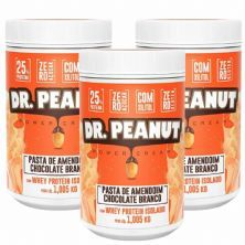Kit 3X Pasta de Amendoim - 1005g  Chocolate Branco com Whey Isolado - Dr. Peanut