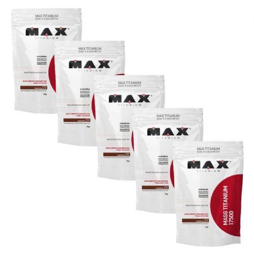 Kit 5 Mass Titanium 17500 - 3000g Refil Chocolate - Max Titanium no Atacado
