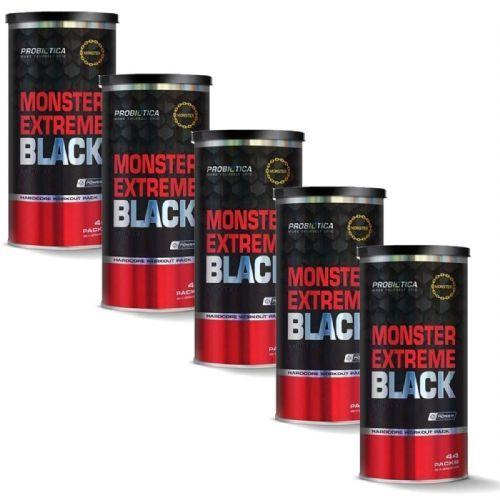 Kit 5 Monster Extreme Black New Power Formula - 44 Packs - Probiótica no Atacado
