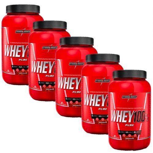 Kit 5 Super Whey 100% Pure - 907g Chocolate - IntegralMédica no Atacado