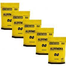 Kit 5X Albumina - 500g Refil Morango, Baunilha, Chocolate, Banana e Natural  - Naturovos