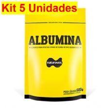 Kit 5X Albumina - 500g Refil Morango - Naturovos