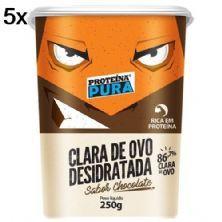 Kit 5X Albumina Proteína Pura Clara de Ovo Desidratada - 250g Chocolate - Netto Alimentos