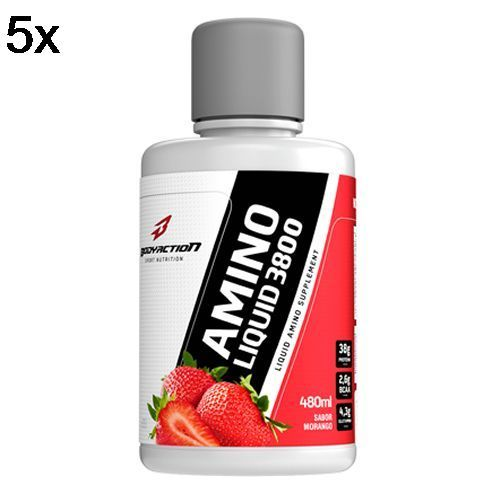 Kit 5X Amino Liquid 3800 - 480ml Morango - BodyAction no Atacado