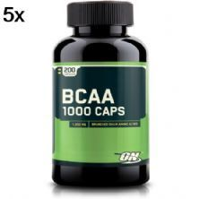 Kit 5X BCAA 1000 - 200 Cápsulas - Optimum Nutrition