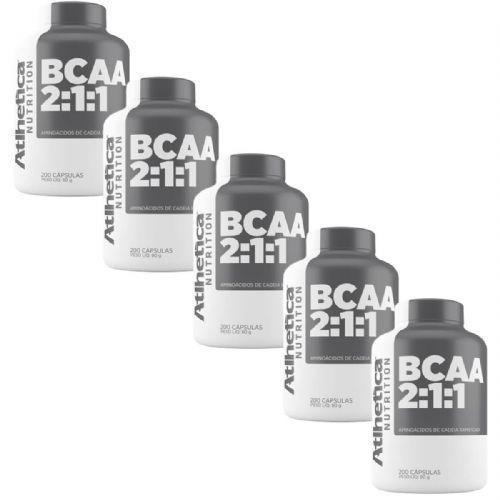 Kit 5X Bcaa 2:1:1 - 200 Cápsulas - Atlhetica Nutrition no Atacado
