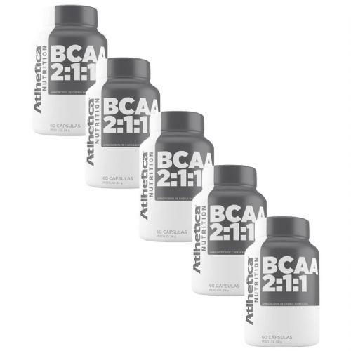Kit 5X Bcaa 2:1:1 - 60 Cápsulas - Atlhetica Nutrition no Atacado