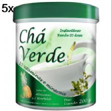 Kit 5X Chá Verde - 200g Abacaxi com Hortelã - New Millen