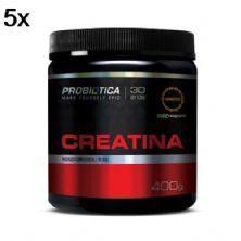 Kit 5X Creatina Creapure  Monohidratada Pura - 400g - Probiótica