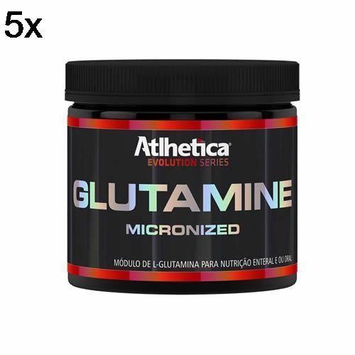 Kit 5X Glutamine Micronized Evolution Series - 300g Glutamina - Atlhetica Nutrition no Atacado