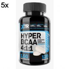 Kit 5X Hyper BCAA 4:1:1 - 120 Tabletes - XTR