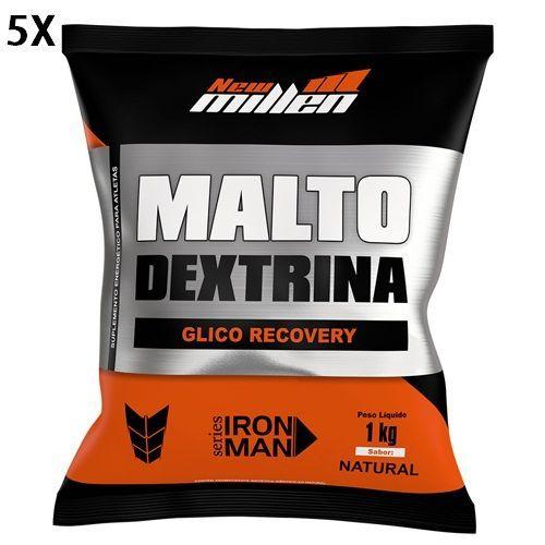 Kit 5X Maltodextrina - 1000g Refil Natural - New Millen no Atacado
