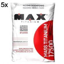 Kit 5X Mass Titanium 17500 - 1400g Refil Chocolate - Max Titanium