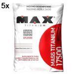 Kit 5X Mass Titanium 17500 - 1400g Refil Morango - Max Titanium no Atacado