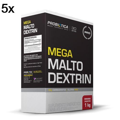 Kit 5X Mega Maltodextrin - 1 Kg Morango Silvestre - Probiótica no Atacado