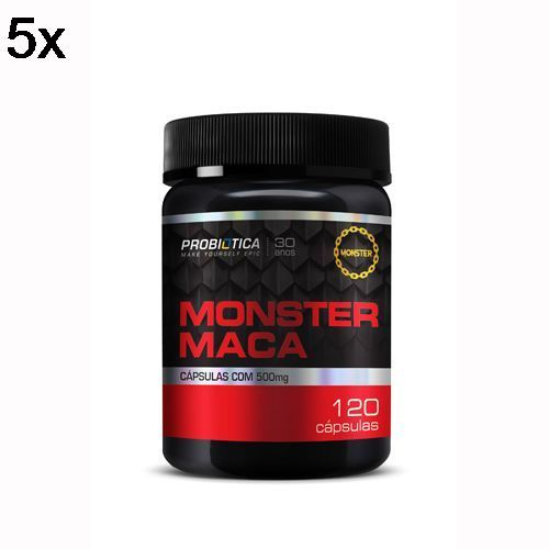 Kit 5X Monster Maca Peruana - 120 Cápsulas - Probiotica no Atacado