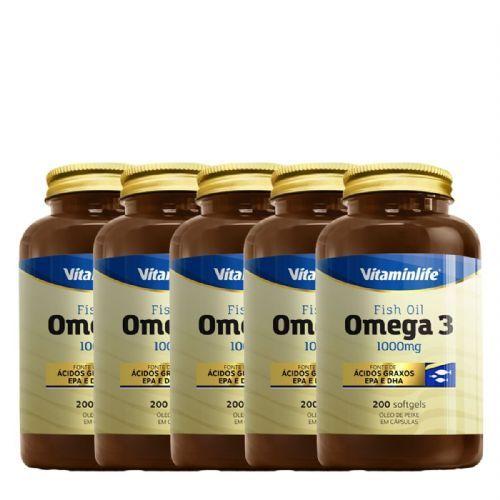 Kit 5X Omega 3 1000mg - 200 Cápsulas - VitaminLife no Atacado