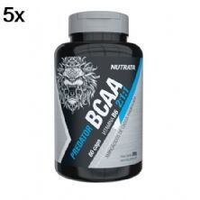 Kit 5X Predator BCAA 2:1:1 - 60 Cápsulas - Nutrata